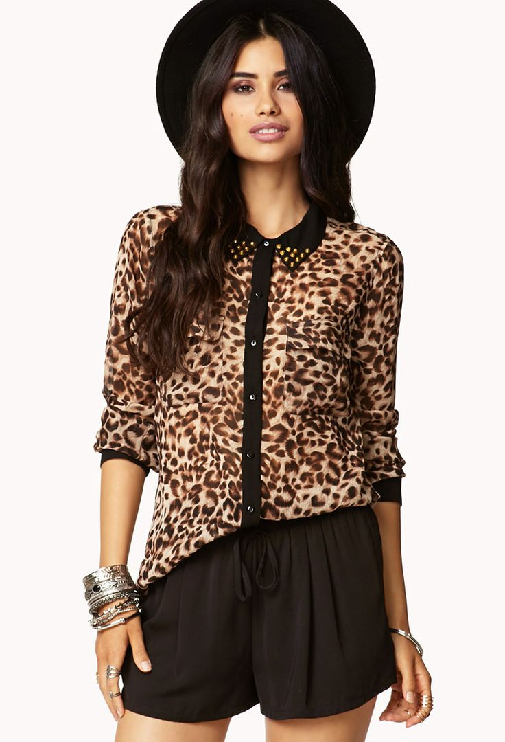Animal Print Studded Collar Shirt | LOVE21 - 2017362614