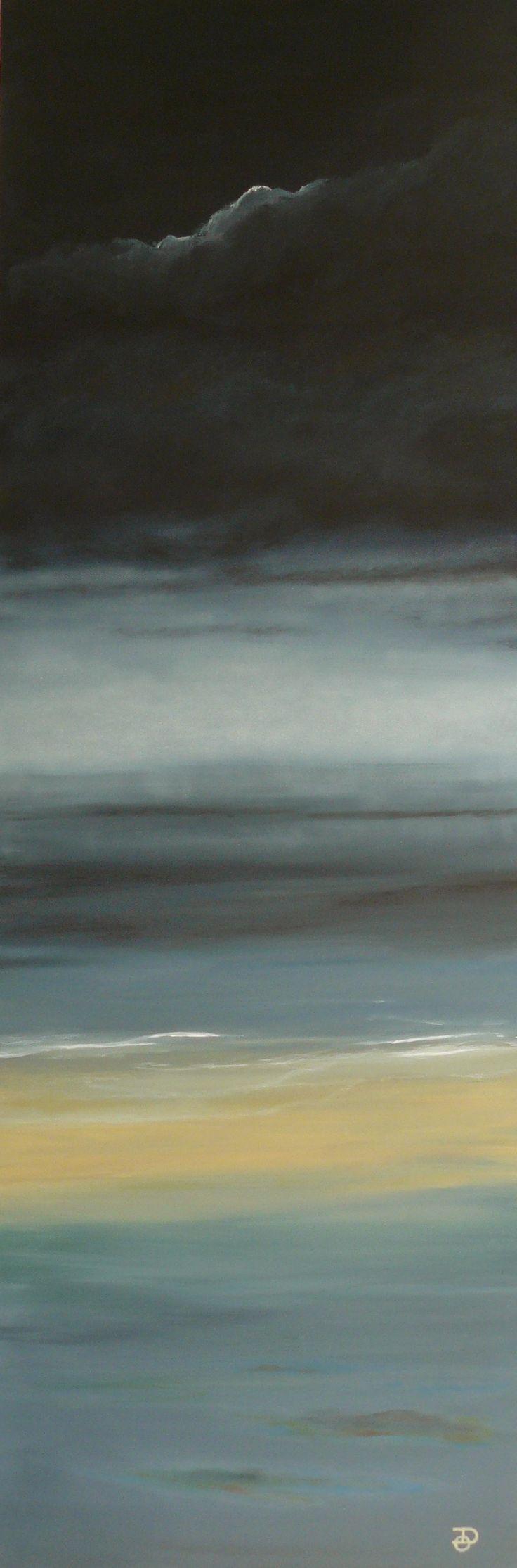 Levée de brume sur mer au petit matin. Huile sur toile 150X50 cm Olivier Defay