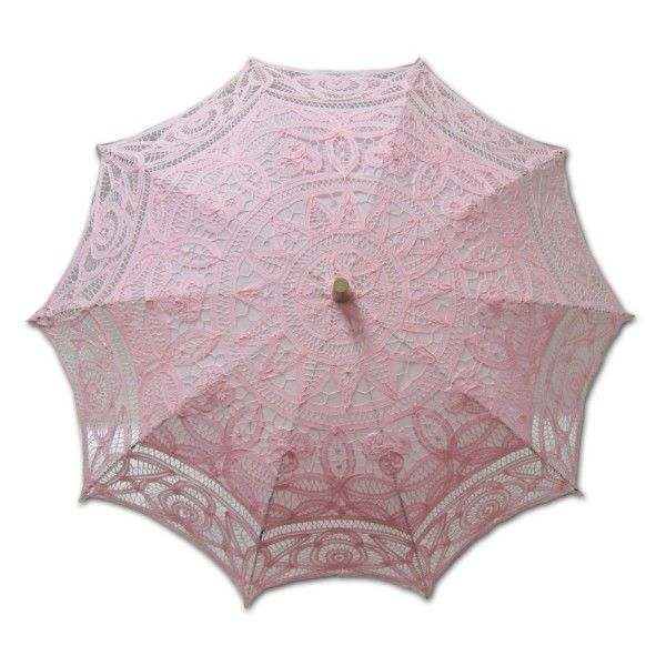 Greatlookz Adult Battenburg Lace Parasol Umbrella in Pink as seen on... ❤ liked on Polyvore featuring accessories, umbrellas, parasol, umbrella, lace umbrella, pink lace umbrella and pink umbrella