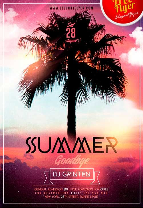 "Goodbye Summer Free Flyer PSD Template - http://freepsdflyer.com/goodbye-summer-free-flyer-psd-template/ Are you upset about the summer is ending? Do you want even some more warm summer days on the beach having fun with your friends? We are offering you to spend these last summer days arranging a wonderful party that will have a name ""Goodbye Summer""! What can be better that say a very good bye to our favorite warm season.   #Autumn, #Beach, #Dance, #Disco, #Dj, #End,"