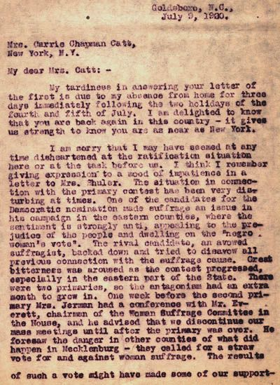 Letter from Weil to Carrie Chapman Catt