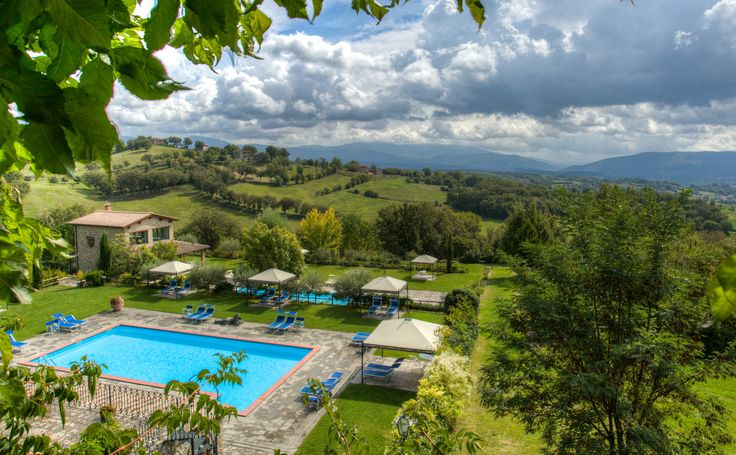 Swimming pool at Borgo Corsignano in Tuscany