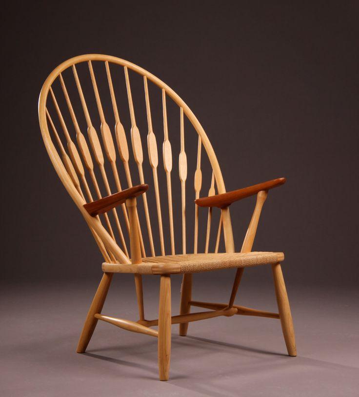 Hans Wegner; Ash, Teak and Rush 'Peacock' Chair for Johannes Jensen, 1960s.