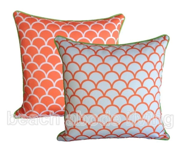 Outdoor CUSHION COVER Reversible Fishscale ORANGE 45 x 45cm Beachy Scatter Case $45