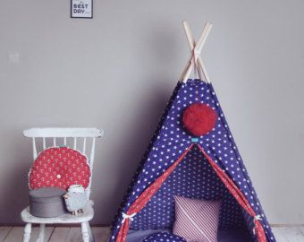 This beautiful teepee will be a perfect playing space for any kids . Such private space is very welcomed by kids as they love to have their own corner to hide and play, read books or just relax. ;)You can enjoy it at home, on a terrace or garden. Decorate any interior and give comfort.   A tent is made of a two-colored fabric with a window. There are two sets to be chosen : 6 elements: teepee tent, 4 wooden poles, mat, three pillows, cotton ball lights and cover for the tent 4 elements…