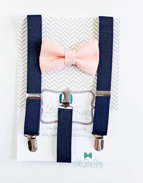 Navy Suspenders Peach Bow Tie..Kids and Adult Bow Tie Suspenders bearers outfits..Baby Boy Bow Tie..Weddings