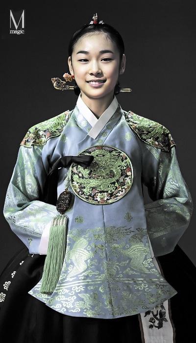 Figure skater Kim Yuna dressed up in hanbok