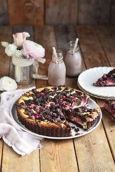 Schokostreusel Joghurt-Cheesecake mit Kirschen - Chocolate Crumble Yogurt Cheesecake   Das Knusperstübchen