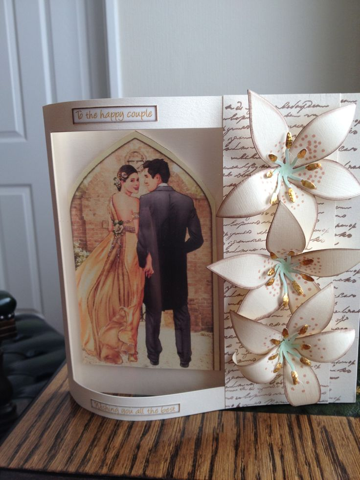 Wedding Card made with Tonic Studio dies and picture from Debbie Moore cd £2.50