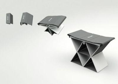本棚に収納出来る椅子【Take a Seat】 - インテリアハック Darris Hamrounによる「Take a Seat」は、折りたたみ式のスツールです。 こういったコンパクトに出来る椅子(スツール)は、以前からいくつもありましたが、このアイテムが特徴的なのはその収納形態。なんと、本のカタチになりそのまま本棚に収納することが出来るのです。