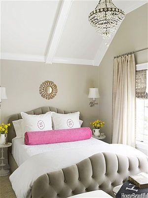 taupe, pop of pink in the bedroom.  home decor and interior decorating ideas.