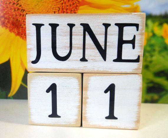 perpetual wood calendar rustic desk decor by AFieldOfSunflowers
