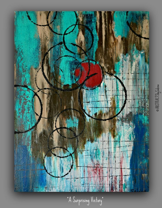 Original Abstract 18x24 Modern Textured Acrylic Painting by Sabina D'Antonio. $425.00, via Etsy.