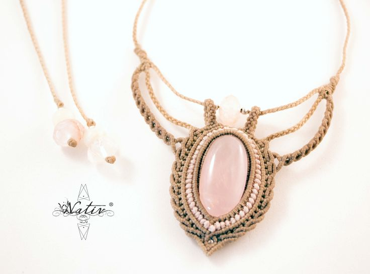 Macrame Necklace with Rose Quartz   #macrame #handmade #stones #macramejewelry #handmadejewelry #rosequartz #silver #Nativ #NativWorld
