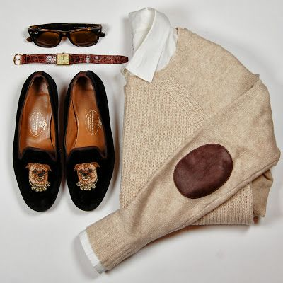 Truffol.com | Elbow patches + velvet dog loafers. What more could a girl want?