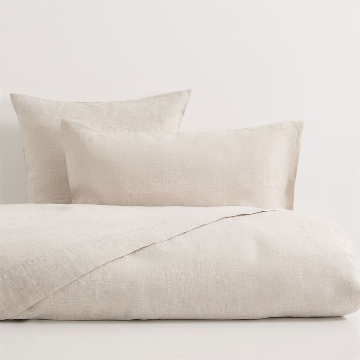 Natural Colour Faded Linen Bed Linen Bett Ideen