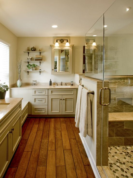Traditional bathroom french country kitchen design for Bathroom ideas with wood floors