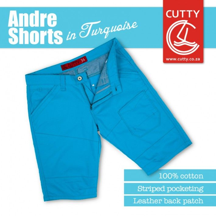 Summer is here and it's time to rock your shorts. Cutty's Andre shorts are a cotton styled short with a difference. They boast a front leg patch pocket and cut lines for styling and fit. They have an on-trend leather back patch, branded buttons and come in a summer turquoise finish. Wear it. Love it. Live it!