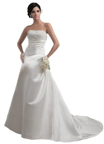 Faironly Crystals Ivory Satin Strapless A-line Wedding Dress Bridal Gown (XS) FairOnly,http://www.amazon.com/dp/B00E2S9MJ6/ref=cm_sw_r_pi_dp_rAXptb0VPFJKZ1HA