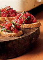 Bruschetta with Tomatoes and Basil. The recipe from Julia and Julie. I've been looking for this recipe since I saw the movie!