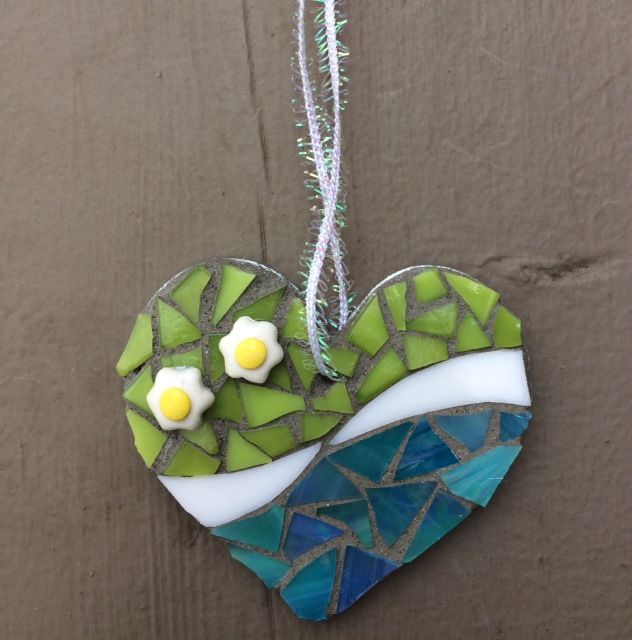 Lime & blue sweetheart mosaic ornament - Glass Needle Works