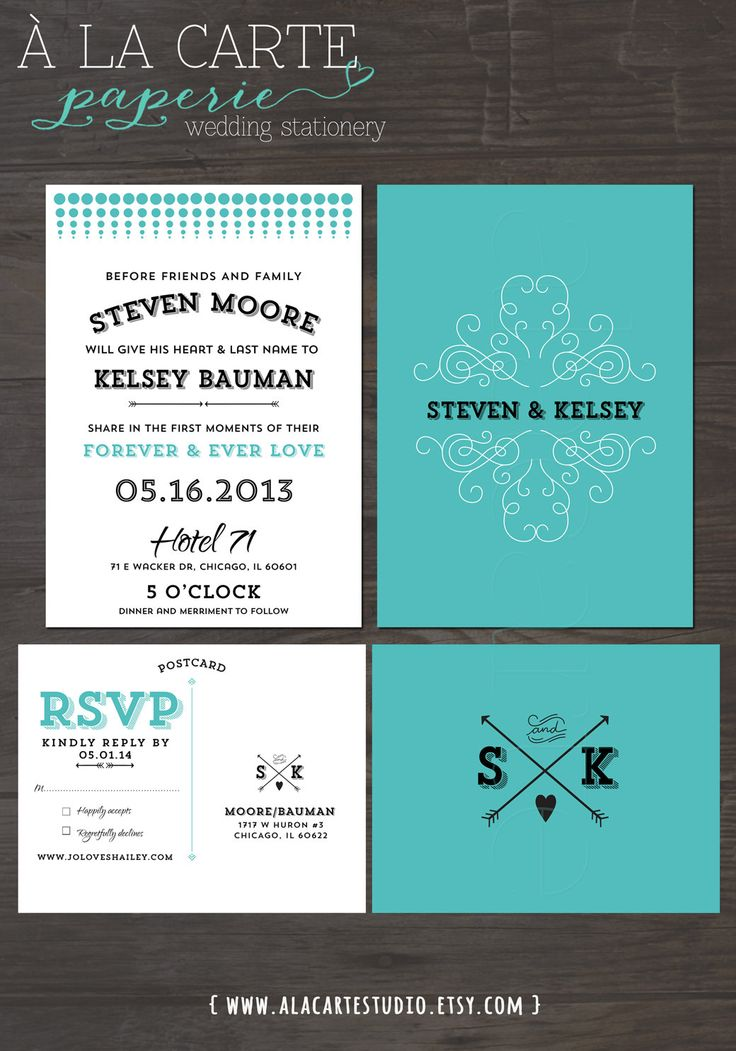Modern Typeface Wedding Invitation And RSVP By Alacartestudio