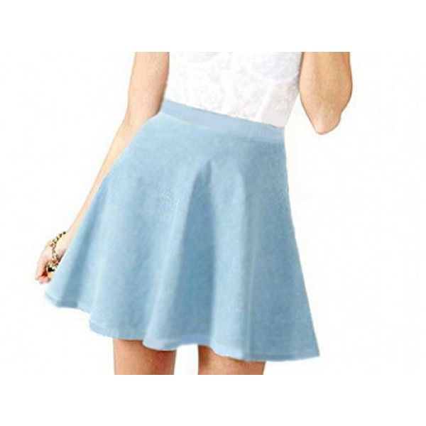 Light Blue Cotton Circle Skirt With Fitted Waistband Chambray Textured... (524.705 IDR) ❤ liked on Polyvore featuring skirts, silver, women's clothing, long skirts, short skirts, light blue skater skirt, long cotton skirts and long circle skirt