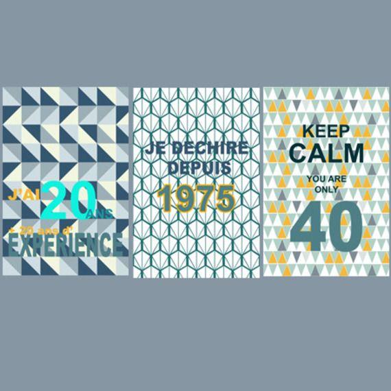 3 affiches pour fêter un anniversaire de 40 ans! idée cadeau original et personnalisé, cadeau anniversaire, cadeau déco, décoration murale