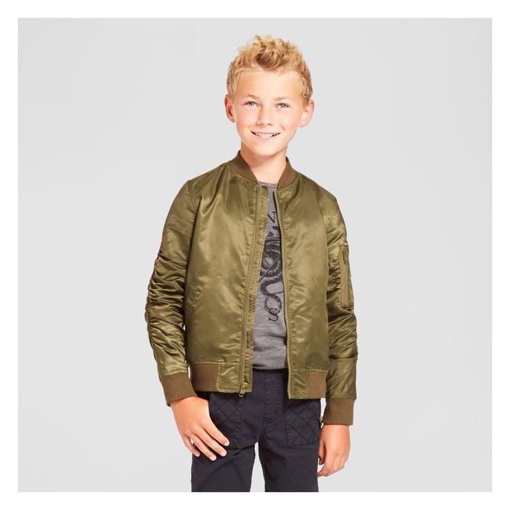 Boys' Nylon Bomber Jacket Olive XS - Mossimo Supply Co., Green