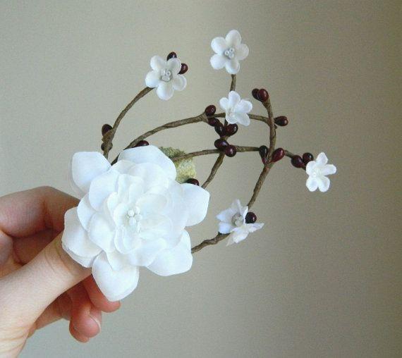 Winter Vine & White Flower Clip - Bridal Flower Hair Accessory - Bride Bridesmaid Flowergirl - Woodland Wedding