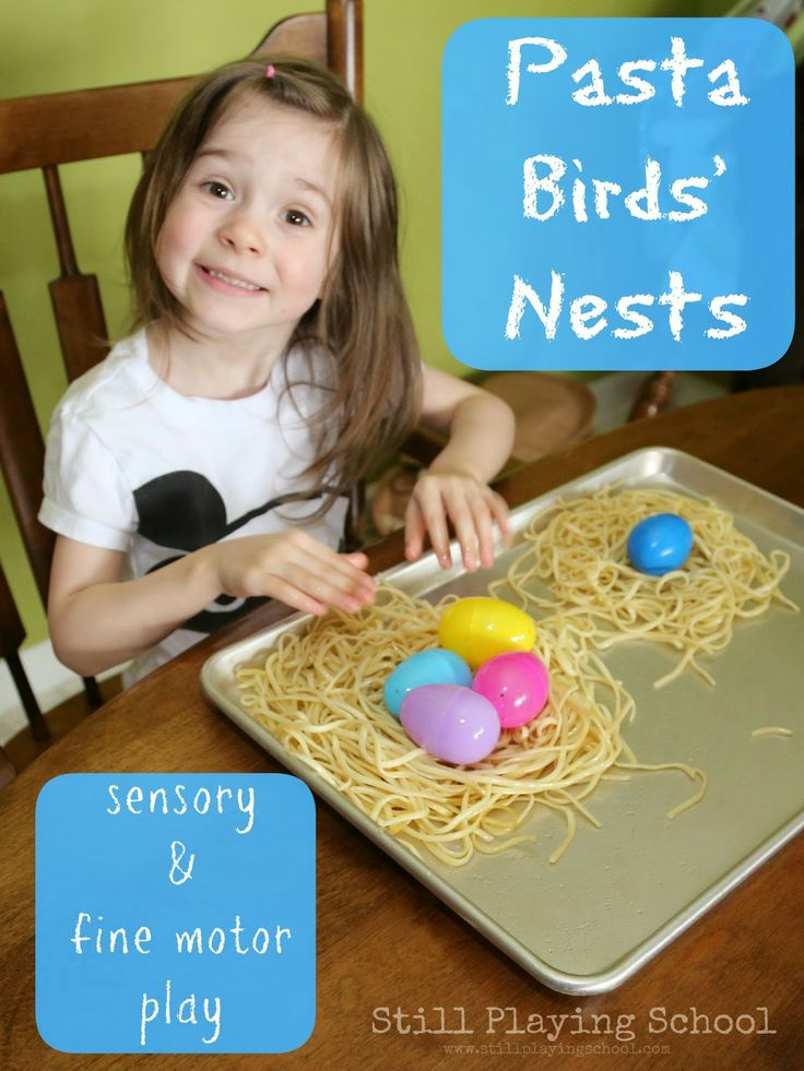 Sensory Nest Building from Still Playing School