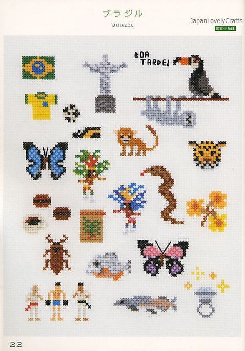 My Cross-Stitch 500 by Makoto Oozu - Japanese Embroidery Pattern Book - Kawaii World One-Point Motif - B831