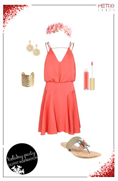 Turn on the heat at that beach party with a coral dress and embellished flats.