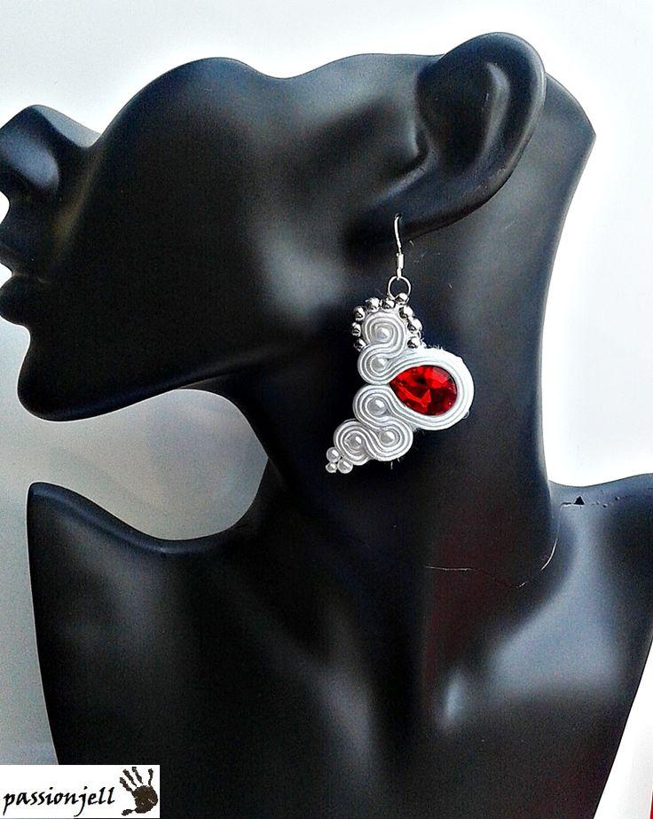 Soutache Red Eye Earrings