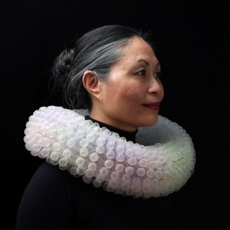 I love the grey hair...like quicksilver growing out of us...Nora FOK - 1996-7 - Knitted, dyed nylon