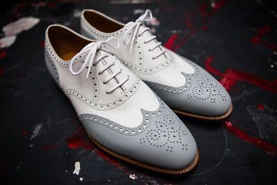 Details about Men's Two Tone Color Oxford Wing Tip Brogues Toe Stylish Leather Lace up Shoes – Men Shoes
