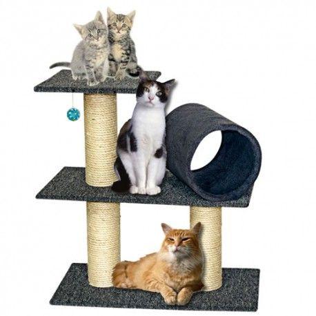 Gimnasio para gatos, consta de: VERSION S 1-Tunel de 30x22 cm para juego108 cm de diámetro forrado en lazo de fique de 5mm para rascado 2 Plataformas 30 x 60 cm  en MDF de 9mm tapizadas en alfombra red ASTRA para salto y descanso 1-Plataforma de 30x30  cm en MDF de 9mm tapizadas en alfombra red ASTRpara salto y descanso Dimensiones generales 30 x 60 x 63m