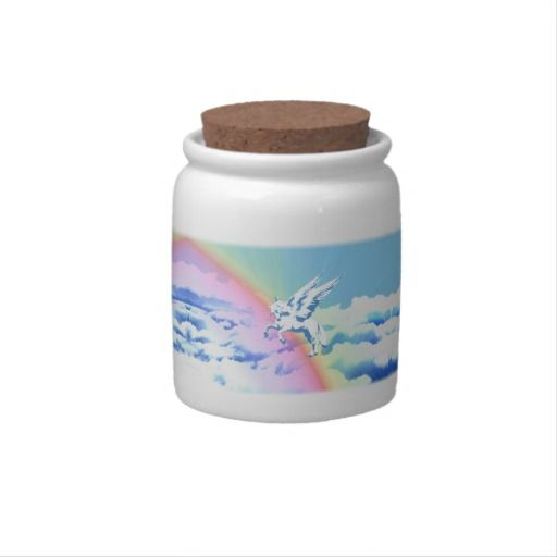 http://www.zazzle.com/pegasus_flying_over_clouds_and_rainbow-165356153789079351?rf=238523064604734277 Pegasus Flying Over Clouds And Rainbow - This candy jar features a Pegasus flying over a rainbow over clouds.