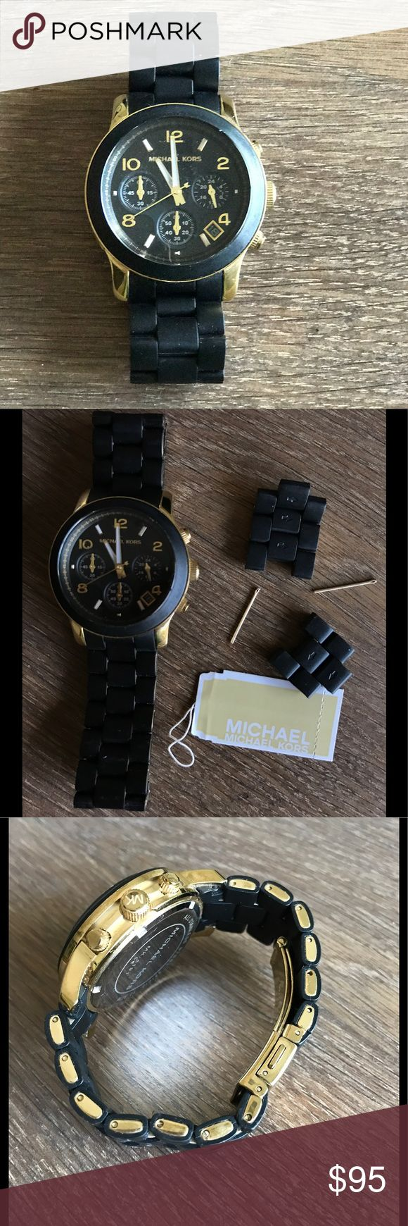 Michael Kors Black Rubber and Gold Women's watch Michael Kors - Black rubber watch with gold details. In great condition, just needs to new battery. Rubber is really easy to maintain. This watch adds an edgy look to your outfit! MICHAEL Michael Kors Accessories Watches