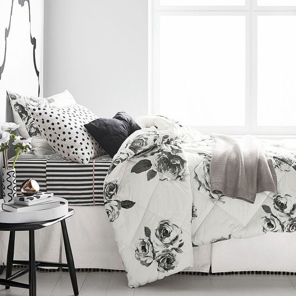 PB Teen The Emily & Meritt Bed Of Roses Comforter, Twin, Black/Ivory ($129) ❤ liked on Polyvore featuring home, bed & bath, bedding, comforters, floral comforters, reversible twin comforter, rose comforter, cream comforter and beige comforter