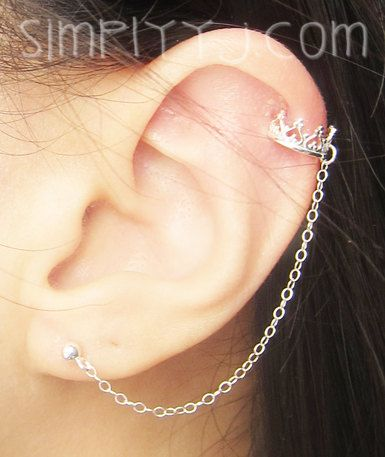 Sterling Silver Princess Crown Cuff Earring