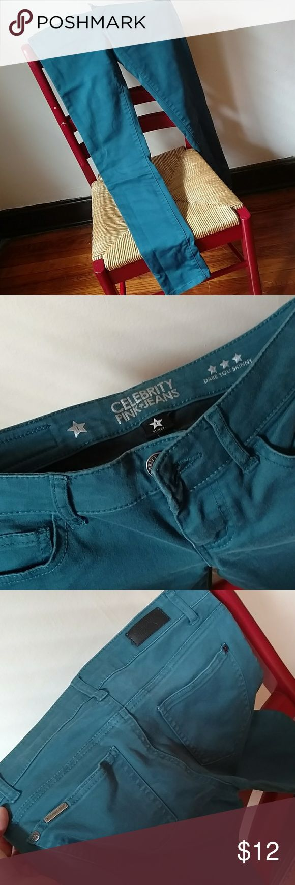 Colored Skinny Jeans Teal colored skinny jeans, barely worn at all, free of stains stretches, fitted. Celebrity Pink Pants Skinny