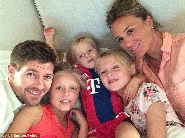 Gerrard pictured with his wife Alex (right) and their three daughters - (L-R) Lilly-Ella, Lourdes and Lexie
