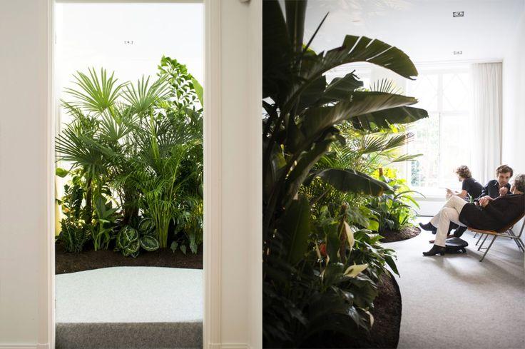 Atelier Kesteren Valerio ha disegnato un salotto verde all'interno di una galleria d'arte ad Amsterdam, con piante che influenzano la temperatura, i suoni e gli odori.