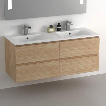 Meuble salle de bain 120 cm Chêne, 4 tiroirs, plan céramique, Cardo
