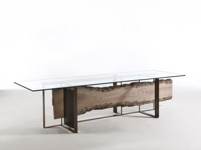 """Riva1920 - Cornice by luca scacchetti:""""A bronze coloured metal structure frames the briccola here transformed into long, fixed planks, suspended, exhibited like """"wood"""" newly discovered, almost archeological, to represent a story, a history that is mysterious and not completely knowable."""""""