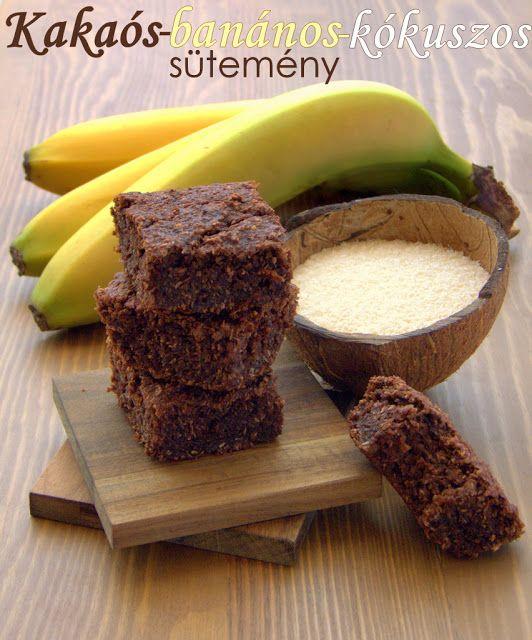 Kakaós-banános-kókuszos sütemény (liszt- és tejmentesen)