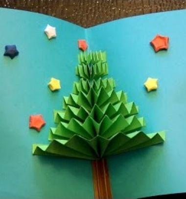 DIY easy 3D Christmas tree pop up gift card // Egyszerű térbeli karácsonyfa képeslapok harmonika hajtással // Mindy - craft tutorial collection
