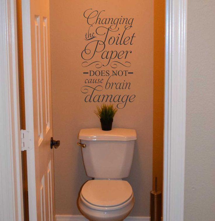 Vinyl Wall Lettering Changing the Toilet Paper Brain Damage Humorous Quote Decal