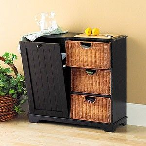 trash bin storage cabinet with baskets black for the